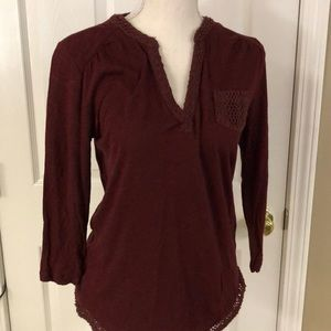 Lucky: Wine color long sleeve tee w/crocheted